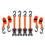 Sangles d'arrimage avec roue à rochet SmartStraps RatchetXde 14 pi– Paquet de4 (orange) –Résistance à la rupture de 3 000 lb